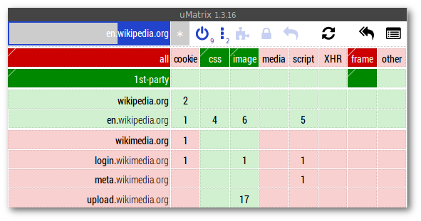 uMatrix grid for wikipedia.org rules when viewing en.wikipedia.org site